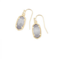 Load image into Gallery viewer, Kendra Scott Lee Gold Drop Earrings In Slate Cats Eye