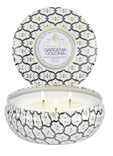 Load image into Gallery viewer, Gardenia Colonia 3 Wick Tin Candle