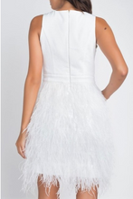 Load image into Gallery viewer, Ivory Ostrich Feather Dress