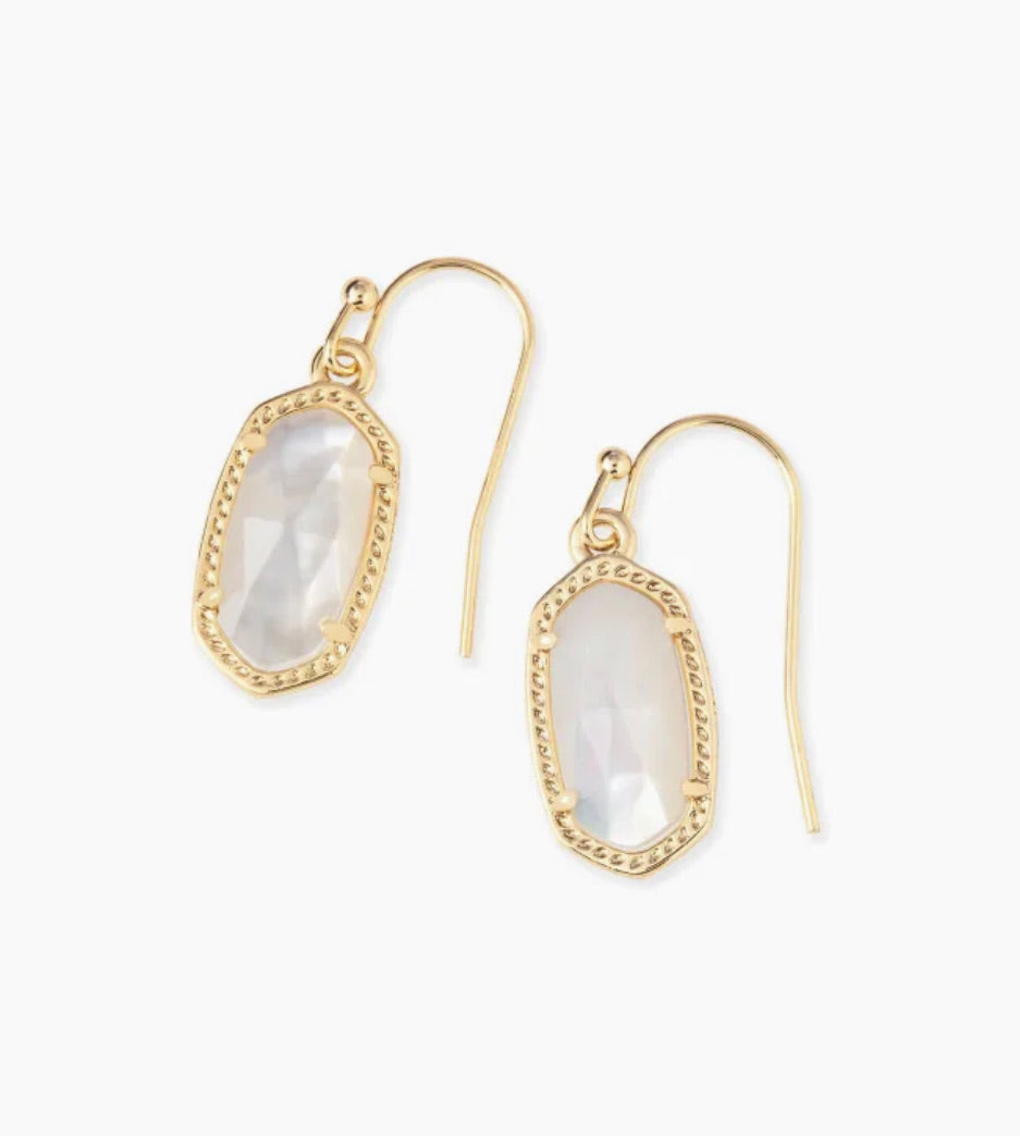 Kendra Scott Lee Gold Drop Earrings In Ivory Pearl