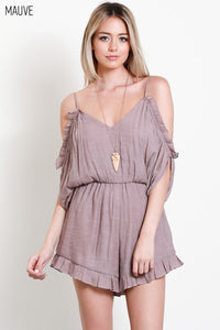 Mauve Cold Shoulder Romper
