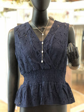 Load image into Gallery viewer, Navy Lace Tank