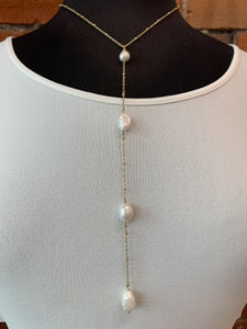 Pearl Lariat Necklace- N23