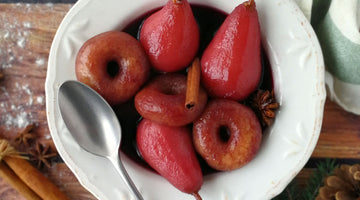 POACHED PEAR AND HOT WINE DONUTS