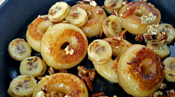 ROASTED DONUTS WITH ICE CIDER AND BANANAS