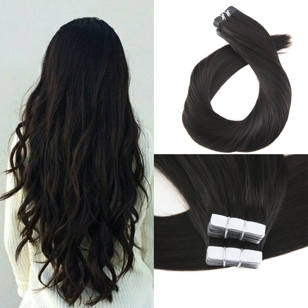 Luxury Virgin Tape-in Extensions (#1B Natural Black) - tape in clip in hair extensions اکستنشن طبیعی شعر طبيعي