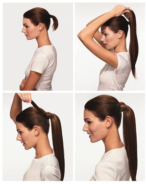 Ponytail Extension (Chocolate Brown #4) - tape in clip in hair extensions اکستنشن طبیعی شعر طبيعي