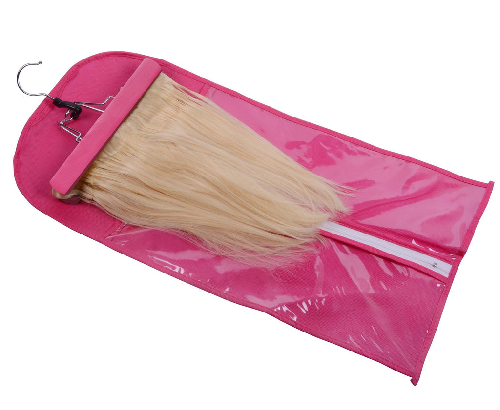 Storage Bag with Wooden Hanger - tape in clip in hair extensions اکستنشن طبیعی شعر طبيعي