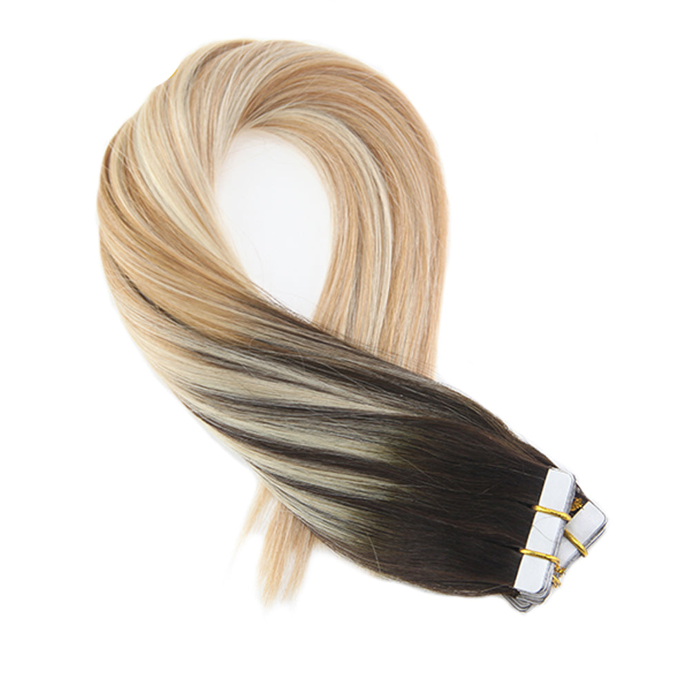 Luxury Virgin Tape-in Extensions - Balayage (2/27/613) - tape in clip in hair extensions اکستنشن طبیعی شعر طبيعي