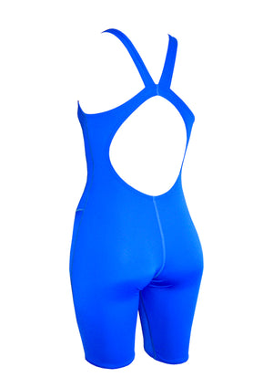 Basic Blue Girls Leg Suit - Fashion Fish Swimwear