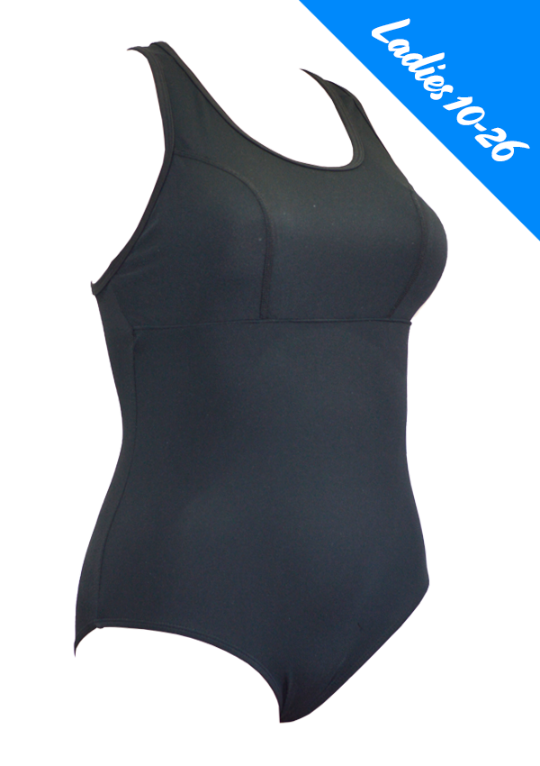 Empowered Ladies Basic Black One Piece - Fashion Fish Swimwear