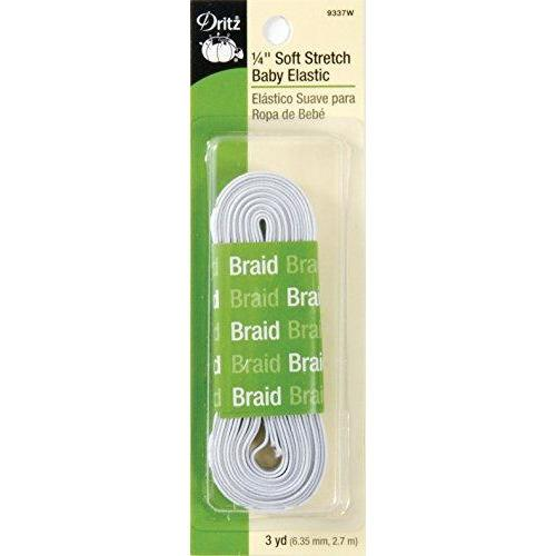 Dritz 9337W Soft Stretch Braided Elastic, White, 1/4-Inch by 3-Yard