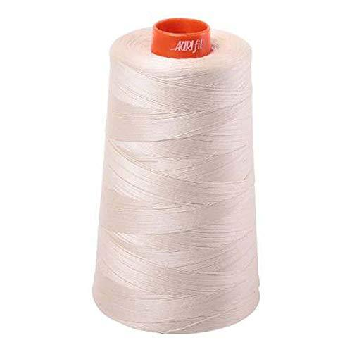Aurifil 2310 Mako 50 Wt 100% Cotton Thread, 6,452 Yard Cone Light Beige