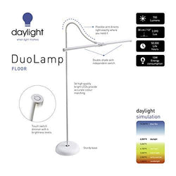 Daylight Company LLC UN1530 Daylight Duo LED Art & Craft Floor Lamp-White
