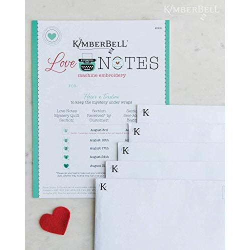 Kimberbell Love Notes Machine Embroidery CD - Includes Directions, Embroidery Files (ART, DST, EXP, HUS, JEF, PES, VIP, VP3, XXX) & SVG Files, For 5x7 Hoop, Machine Embroidery Patterns, DIY Sewing Supplies, Vintage Inspired Designs, 38x38 Inches