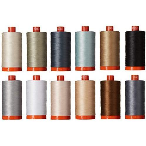 Christa Quilts Piece and Quilt Neutrals Aurifil Thread Kit 12 Large Spools 50 Weight CW50PQN12