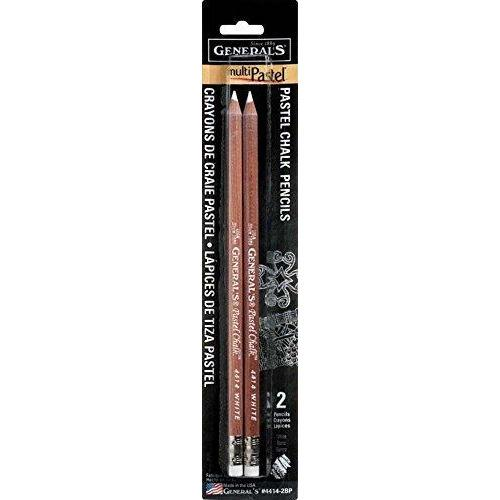 General Pencil GEN-4414-2BP 2 Piece Multi-Pastel Chalk Pencils, White