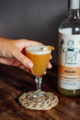 Mr Consistent Sours Mix in Crystal Glass