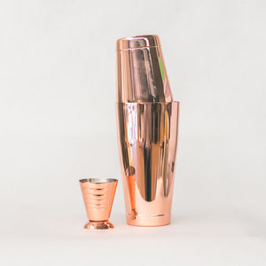 Load image into Gallery viewer, Toby Tins Shaker + Multi Jigger Rose Gold