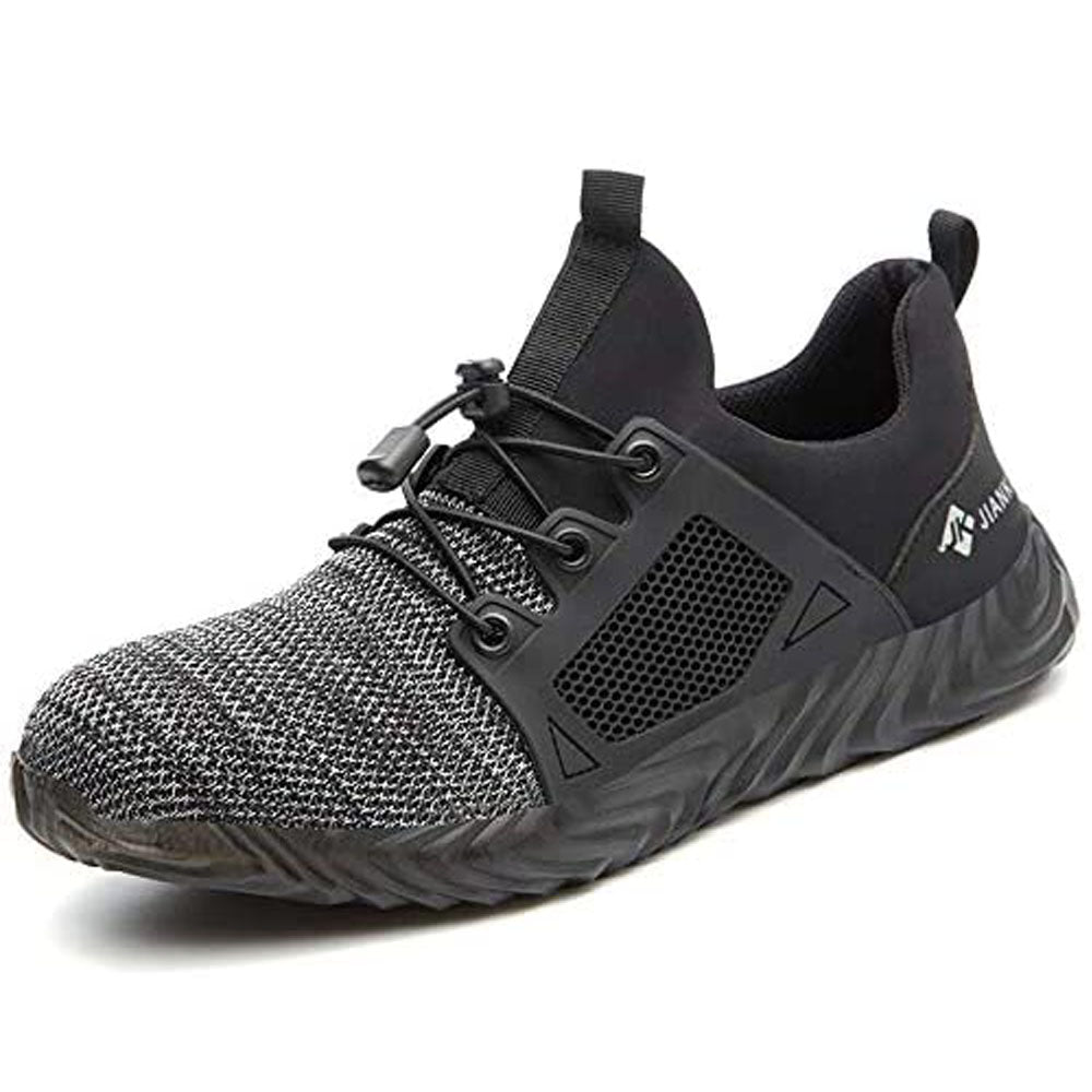 Indestructible Shoes for Men Anti Smashing Slip Steel Toe Shoes Women Mesh Breathable Slip Steel Toe Shoes Breathable Slip and Black Mesh
