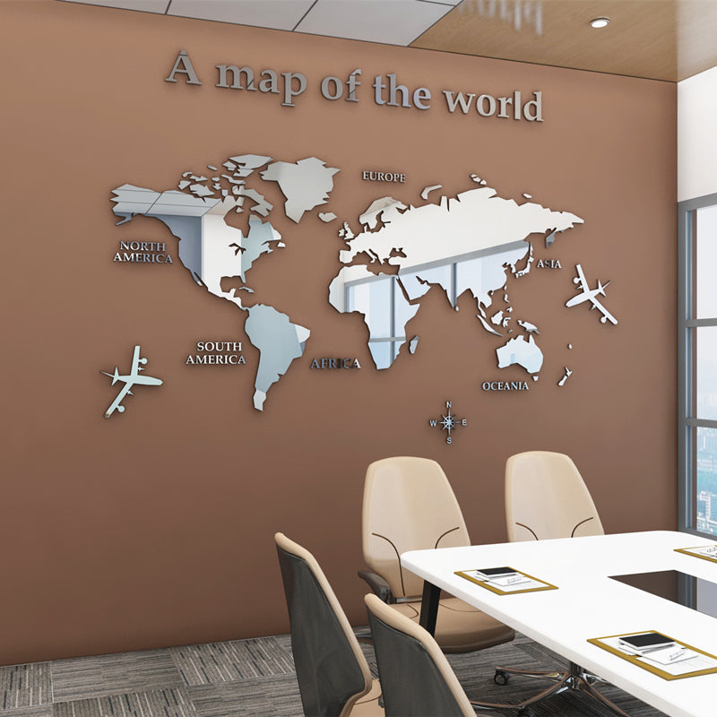3d world map wall sticker mirror