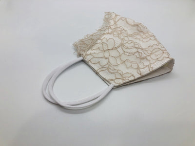 Beige French Lace Scalloped Face Cover