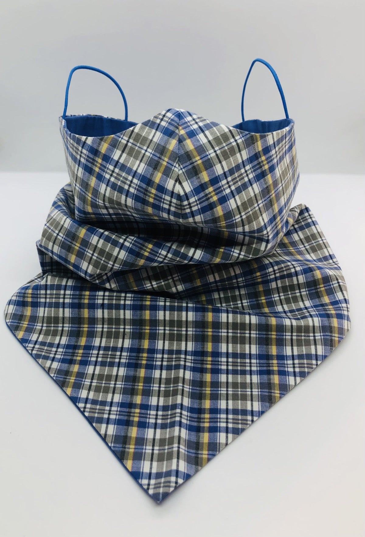 Cotton Plaid Blues Bandana by Ludmila Couture