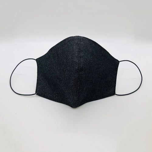 Cover Face Cotton Denim Mask with Metallic Thread