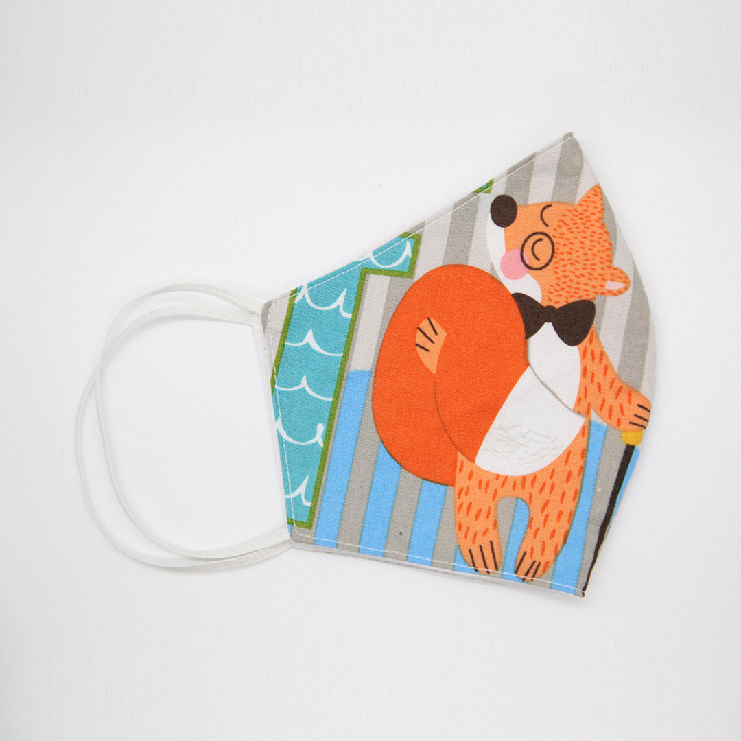 Kids 100% cotton face mask - FOX and OCTOPUS