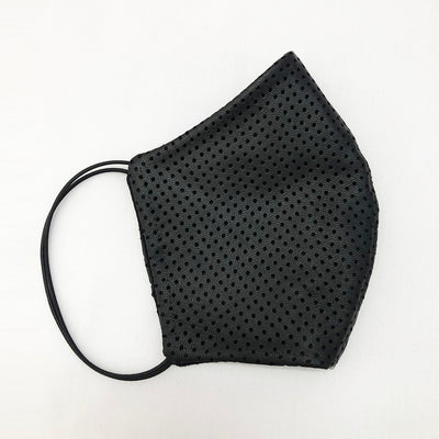 Unisex Black perforated leather face accessory