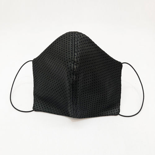 Unisex Black perforated leather face mask By Ludmila Couture