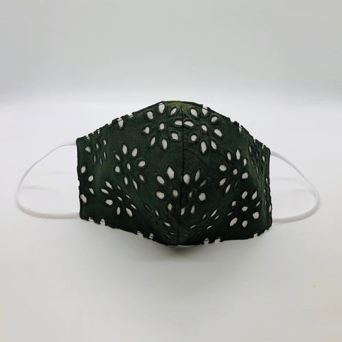 Military Green Cotton Eyelet mask by Ludmila Couture