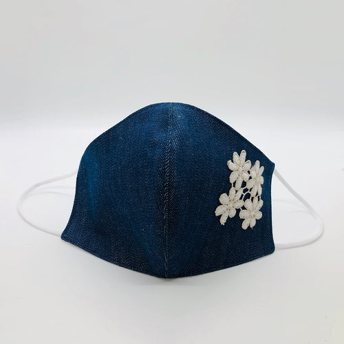 Cover Face  Cotton Denim mask with Flower