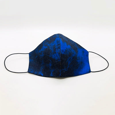 Cover Face Cotton Waxed Denim Mask / Metallic Blue