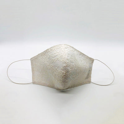 Cover Face White French Lace Mask with double Cotton Lining