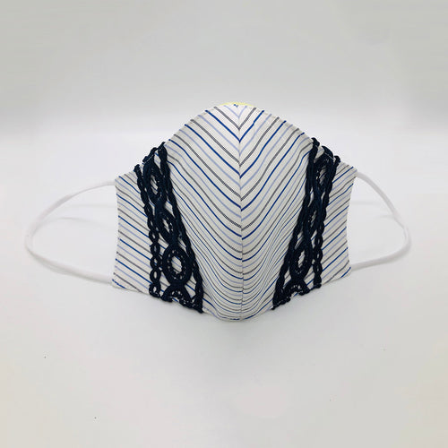 Striped Cotton Face Cover with Vertical Lace Navy Trim