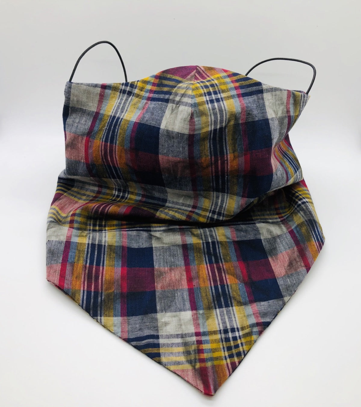 Cotton Plaid TieDye Face Shield