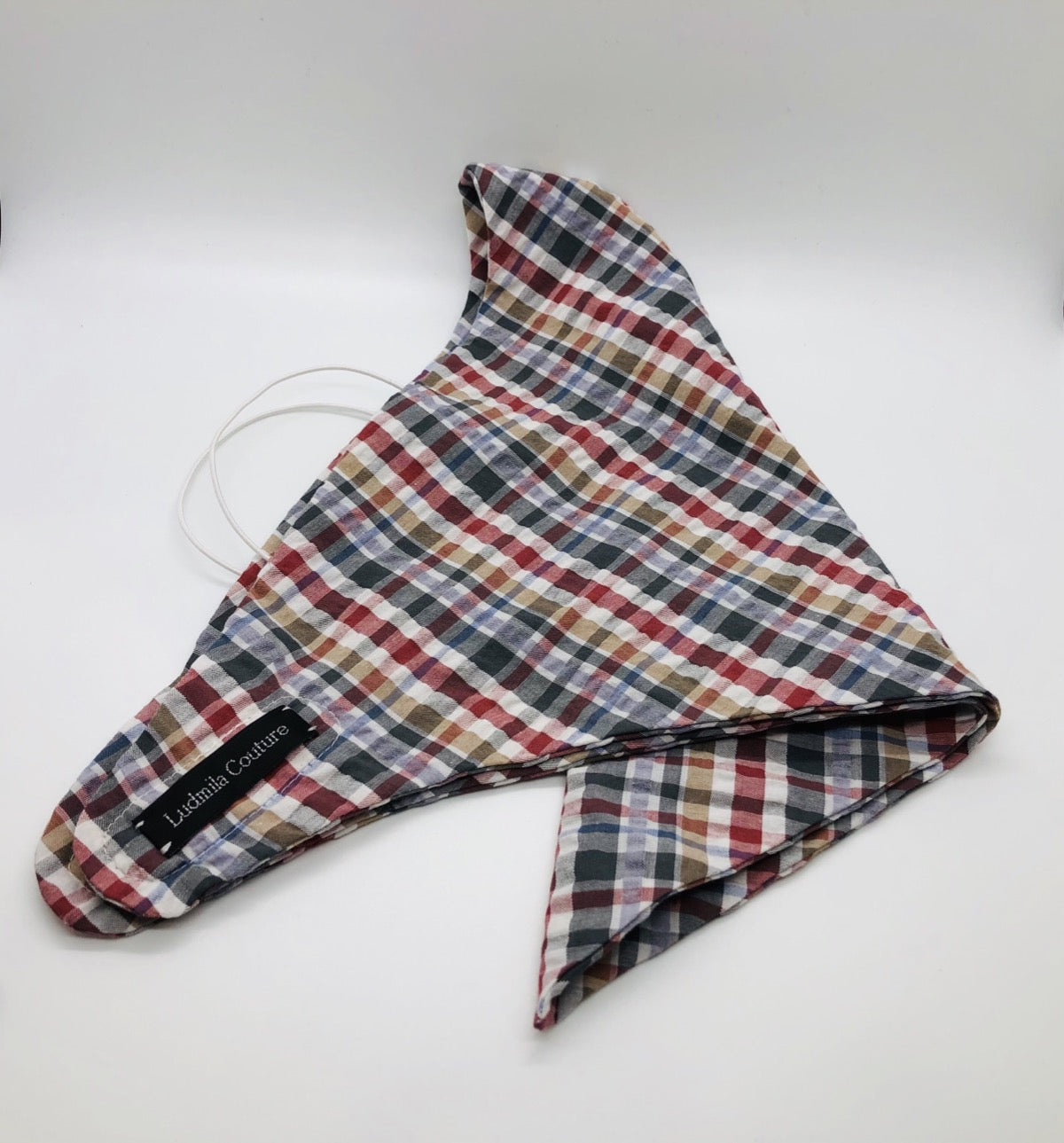 Cotton Plaid Face Bandana by Ludmila Couture