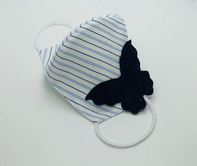 Cotton Striped face shield with butterfly accent by Ludmila Couture