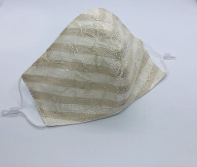 Narrow stripe Cotton Ritz Beige Mask with Lance By Ludmila Couture