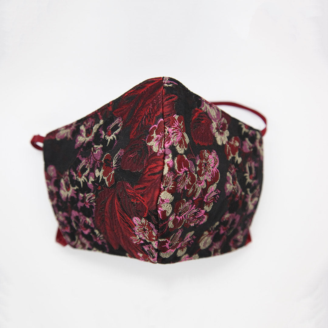 Flower print Italian jacquard face shield By Ludmila Couture