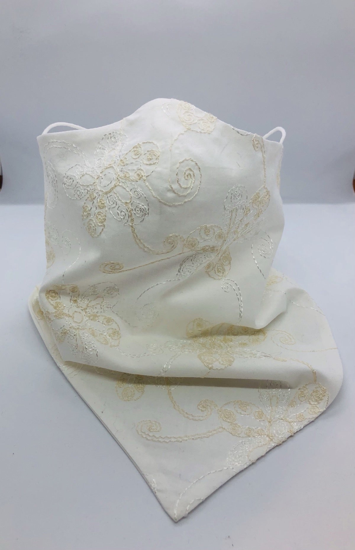 Cotton White Summersault Bandana by Ludmila Couture