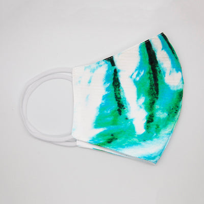 White/Aqua custom Print cotton face mask