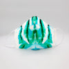 Cotton White/Aqua custom Print cotton face shield by Ludmila Couture