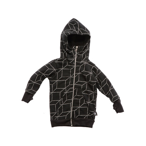 long grid gloved hoodie