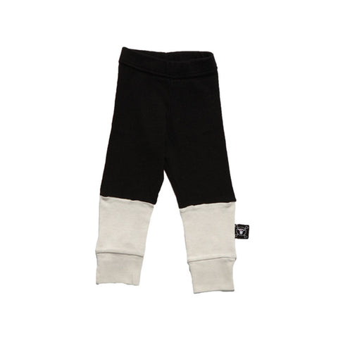 1/4 leggings black/white