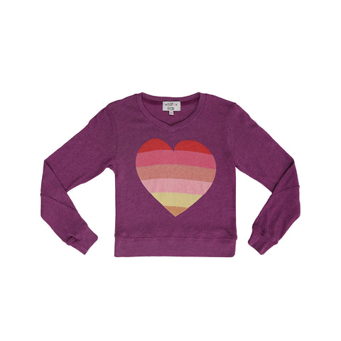 beach heart v-neck baggy beach jumper
