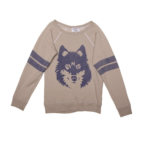 vintage wolf sherpa fleece jumper