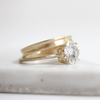 14K Gold Hand Carved Engagement Ring