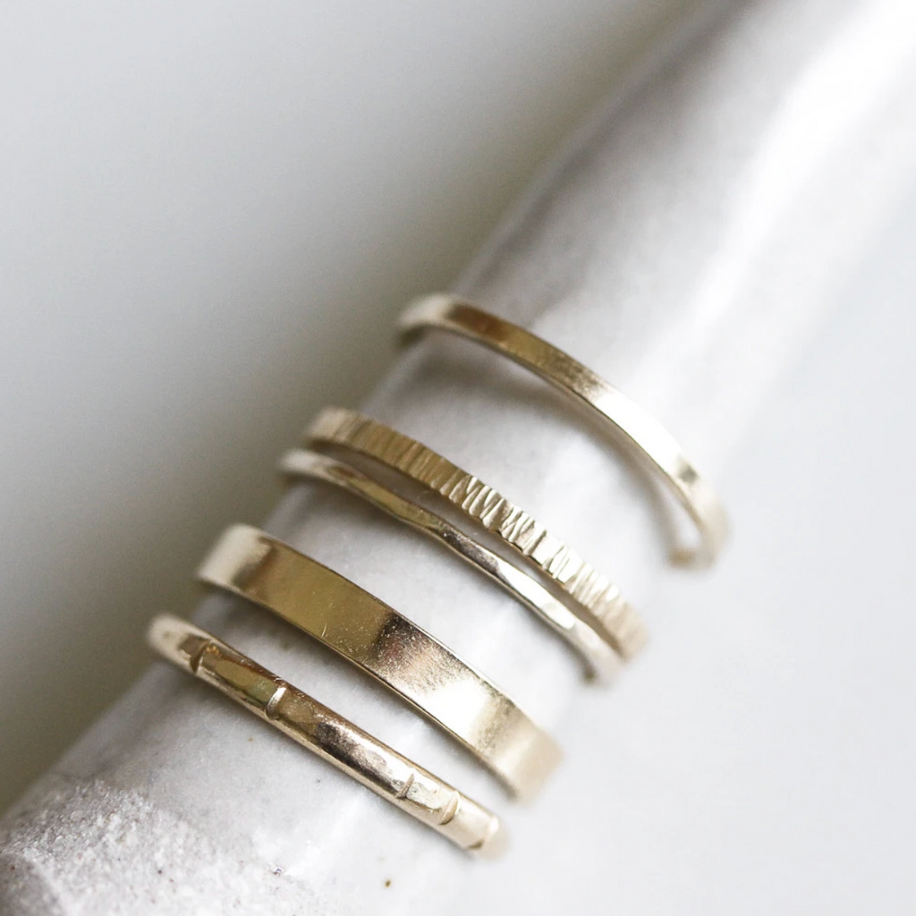 14K Hand Carved Gold Stacker Band